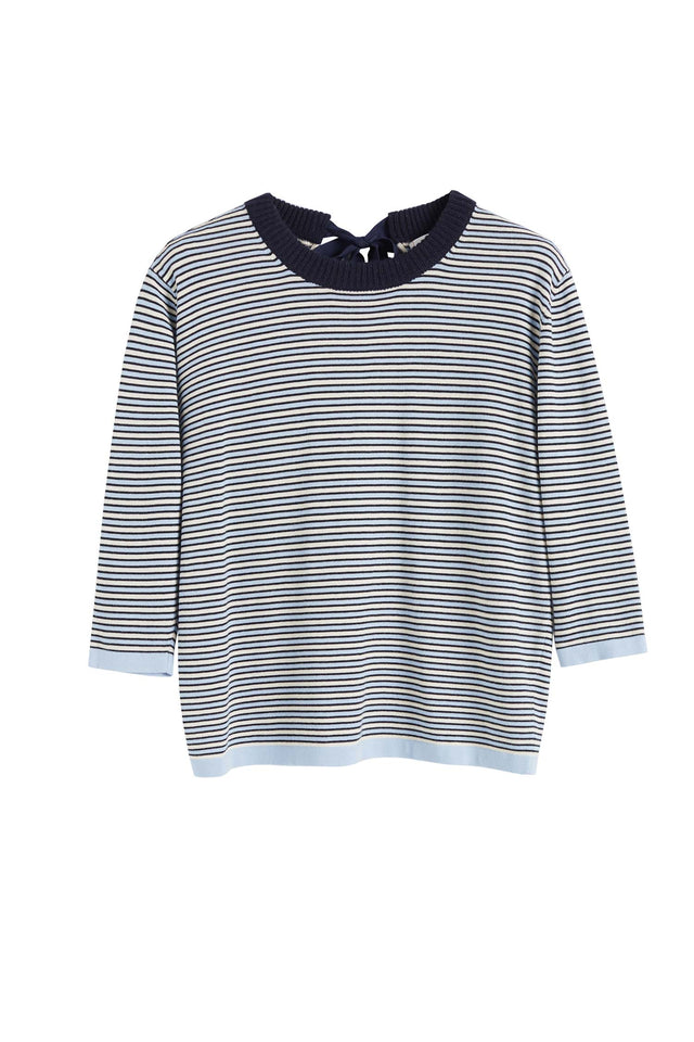 Blue Cotton Striped Summer Sweater image 2
