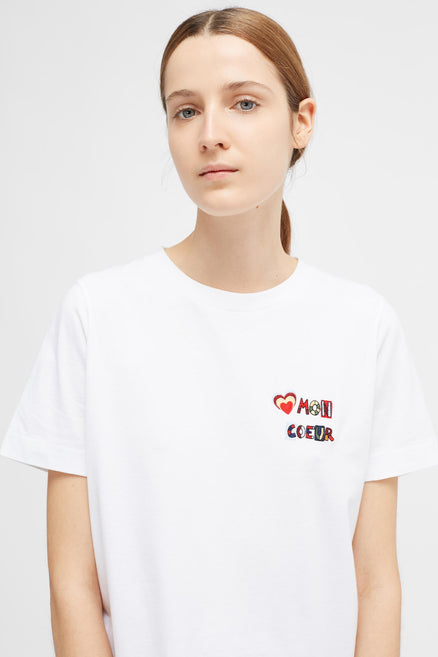 White Short Sleeve Mon Coeur T-Shirt