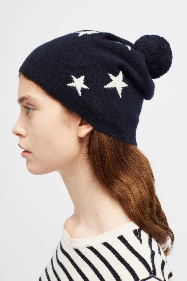 Navy Cashmere Star Hat image 1
