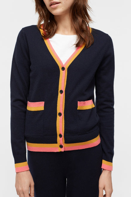 Navy Stripe Trim Cashmere Cardigan