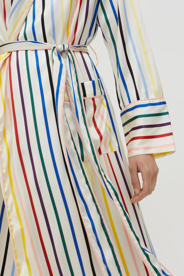 Rainbow Striped Silk Dressing Gown image 3