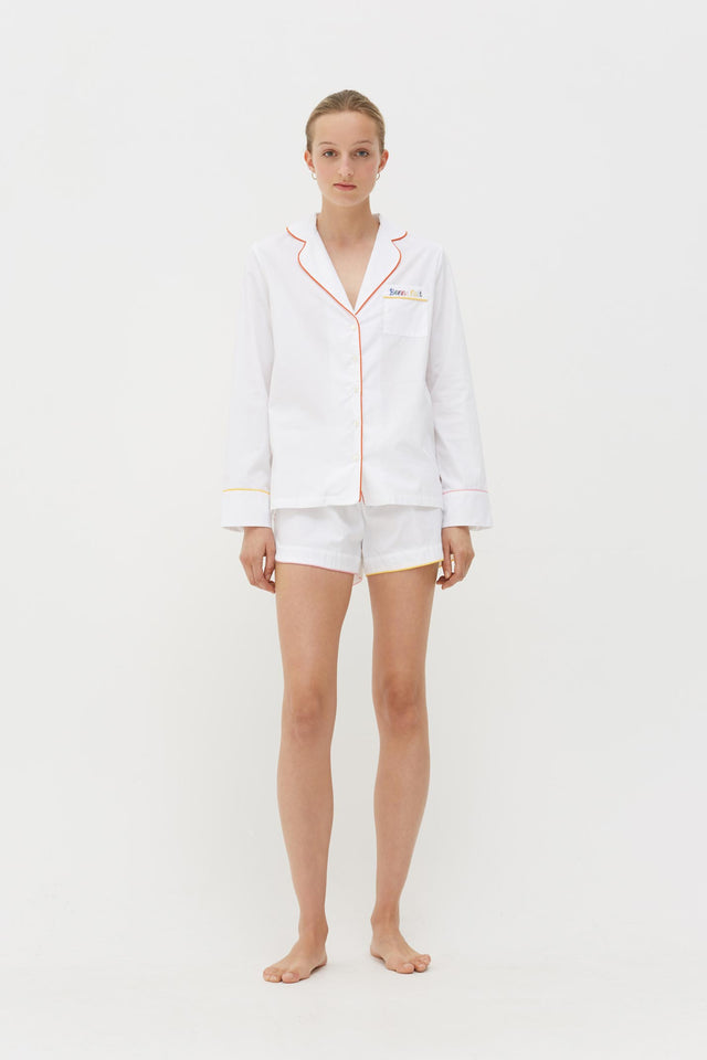 White Bonne Nuit Cotton Pyjama Shorts Set image 5