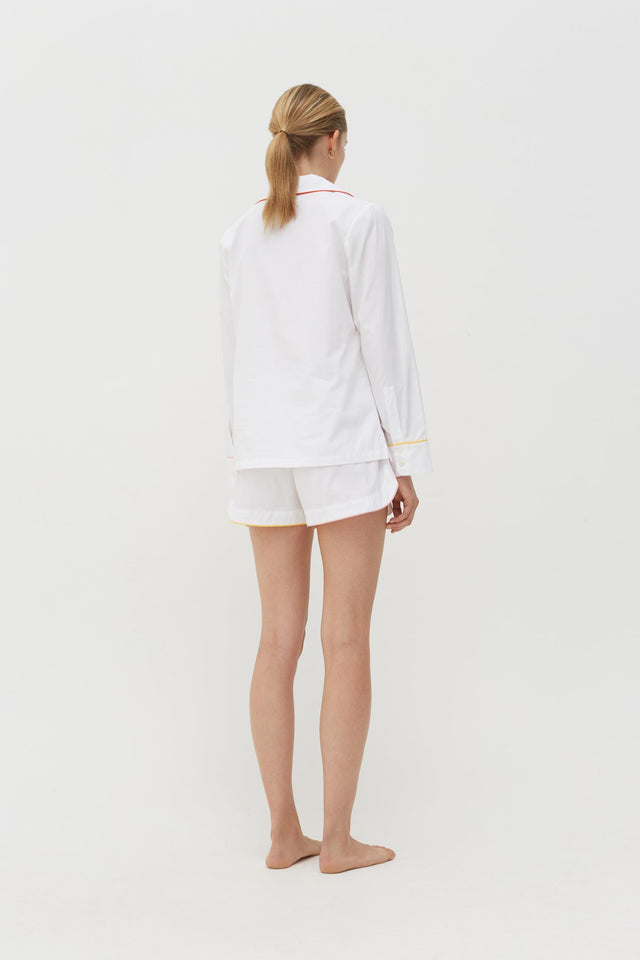White Bonne Nuit Cotton Pyjama Shorts Set image 3