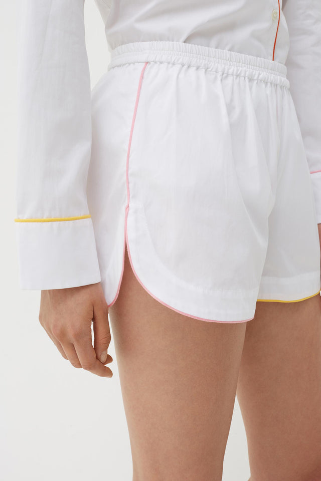 White Bonne Nuit Cotton Pyjama Shorts Set image 2