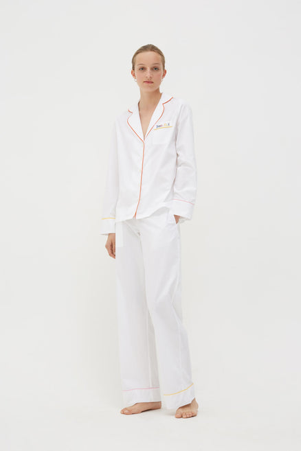 White Bonne Nuit Cotton Pyjama Set