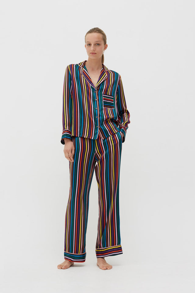Navy Striped Silk Pyjama Set image 1