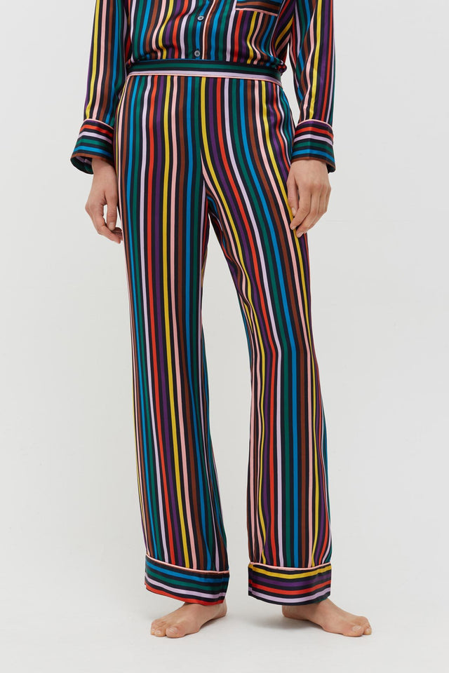 Navy Striped Silk Pyjama Set image 6
