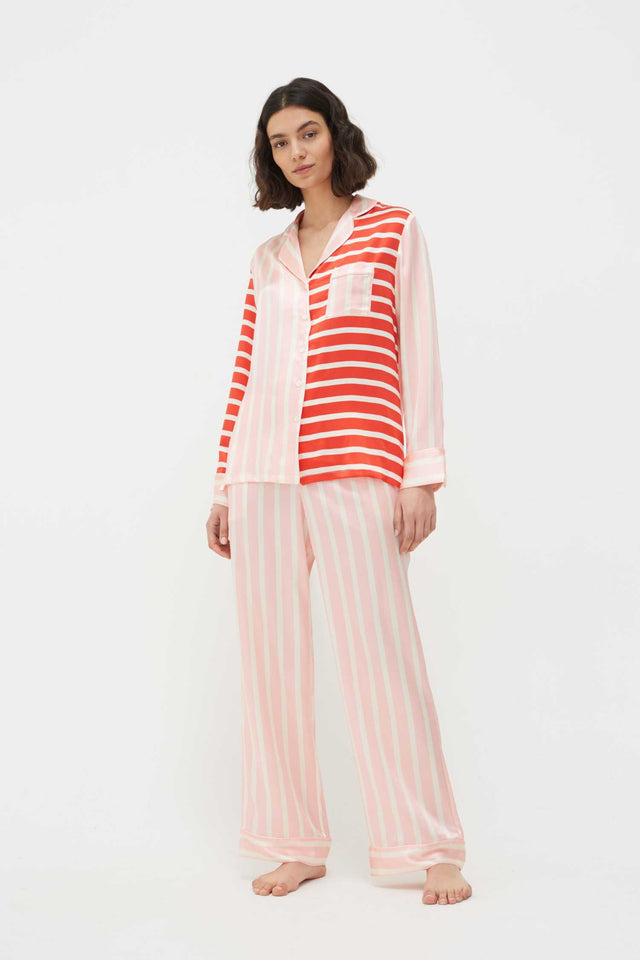 Pink Stripe Mix Silk-Satin Pyjama Set image 1