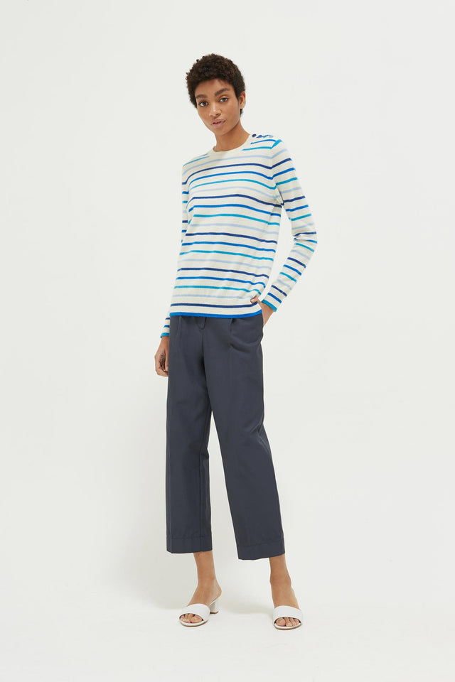 Blue Breton Stripe Cashmere Sweater image 3