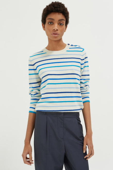 Blue Breton Stripe Cashmere Sweater