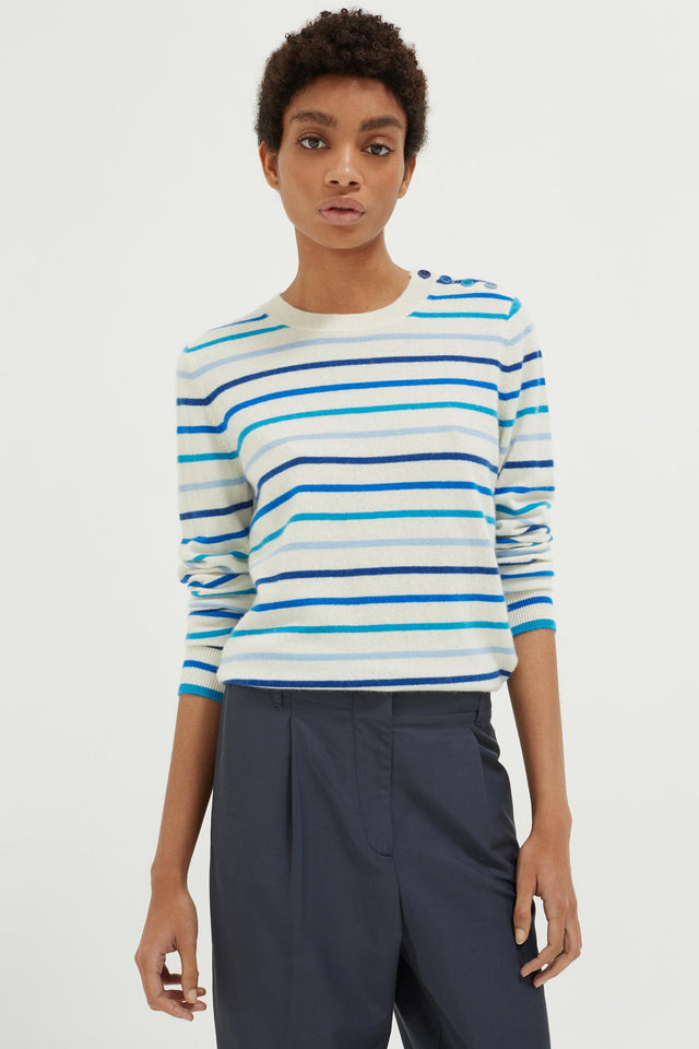 Blue Breton Stripe Cashmere Sweater image 1