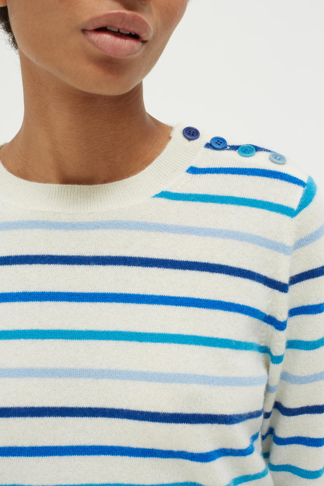 Blue Breton Stripe Cashmere Sweater image 4