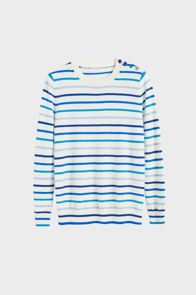Blue Breton Stripe Cashmere Sweater image 2