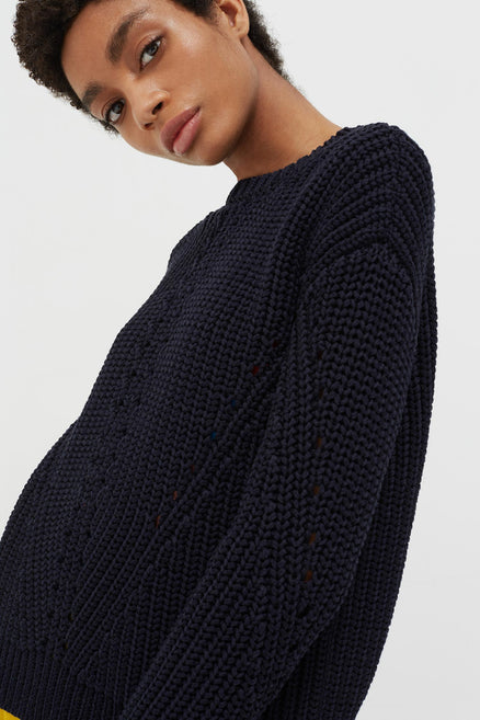 Navy Le Soir Crew Neck Sweater