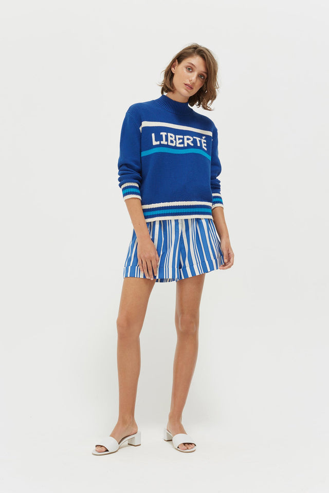 Blue Liberté Chunky Polo Neck Sweater image 3