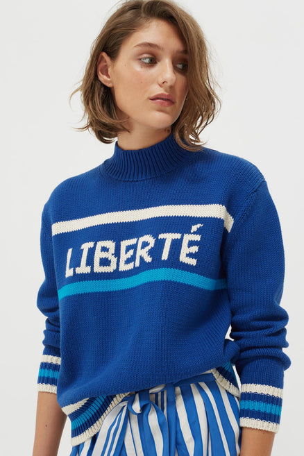Blue Liberté Chunky Polo Neck Sweater