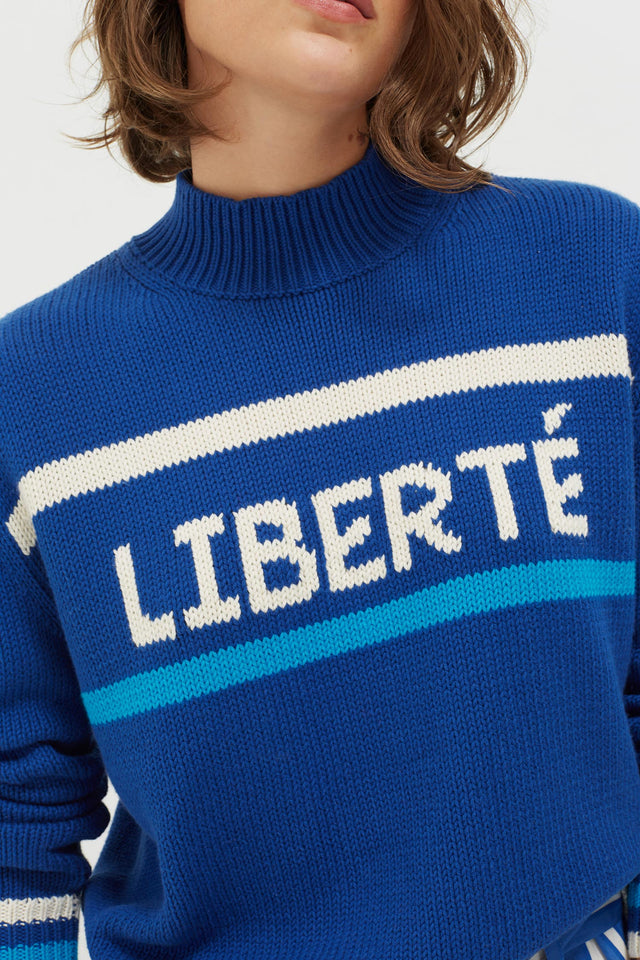 Blue Liberté Chunky Polo Neck Sweater image 4