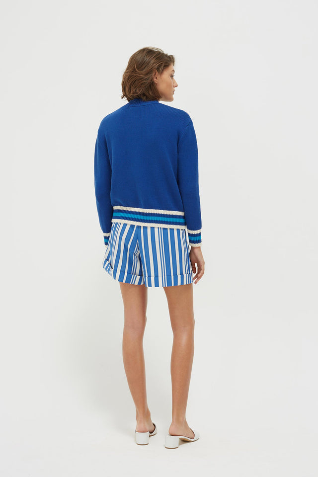 Blue Liberté Chunky Polo Neck Sweater image 5