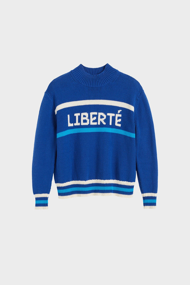 Blue Liberté Chunky Polo Neck Sweater image 2