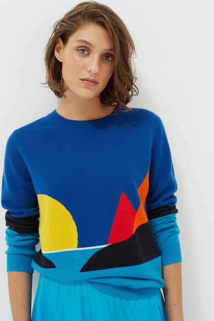 Blue Seascape Cashmere Sweater