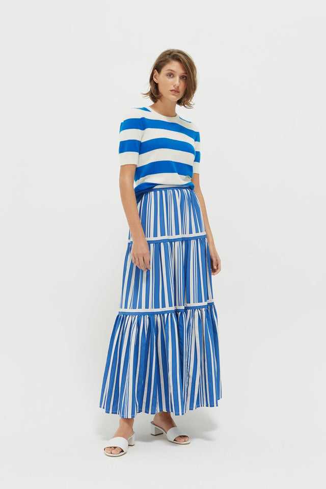 Blue Striped Parasol Tiered Maxi Skirt image 3