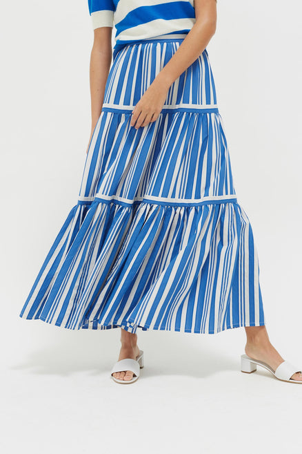 Blue Striped Parasol Tiered Maxi Skirt