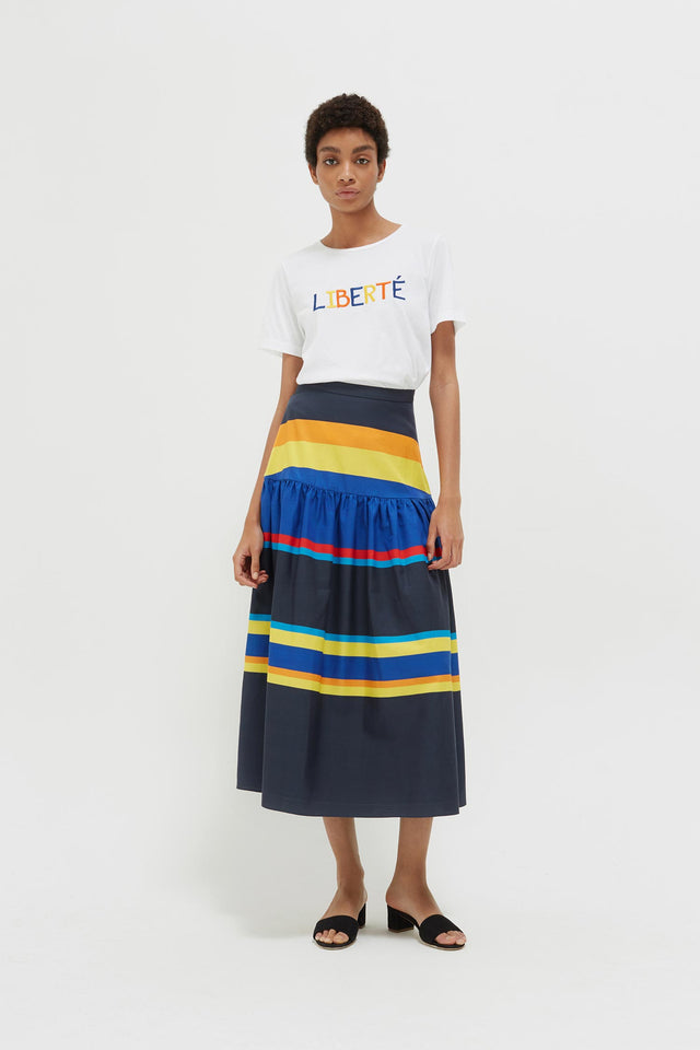 Navy Sunset Stripe Cotton-Silk Midi Skirt image 3