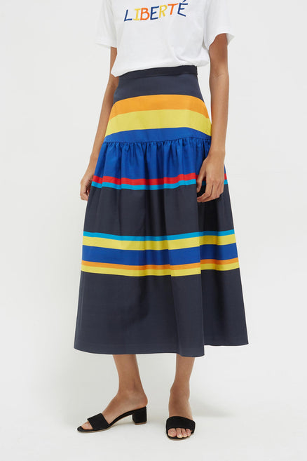 Navy Sunset Stripe Cotton-Silk Midi Skirt