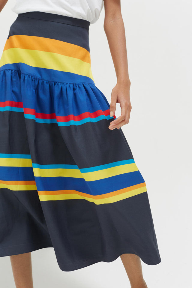 Navy Sunset Stripe Cotton-Silk Midi Skirt image 4