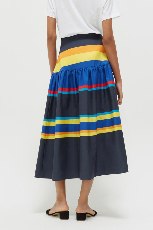 Navy Sunset Stripe Cotton-Silk Midi Skirt image 5