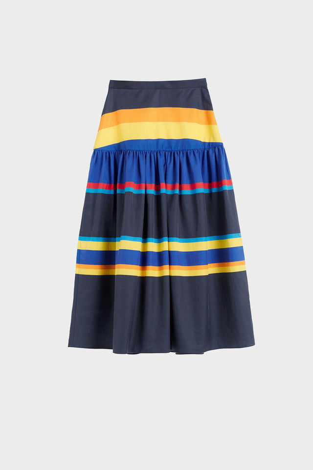 Navy Sunset Stripe Cotton-Silk Midi Skirt image 2