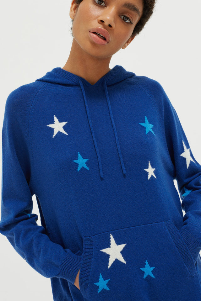 Blue Tonal Star Cashmere Hoodie image 1