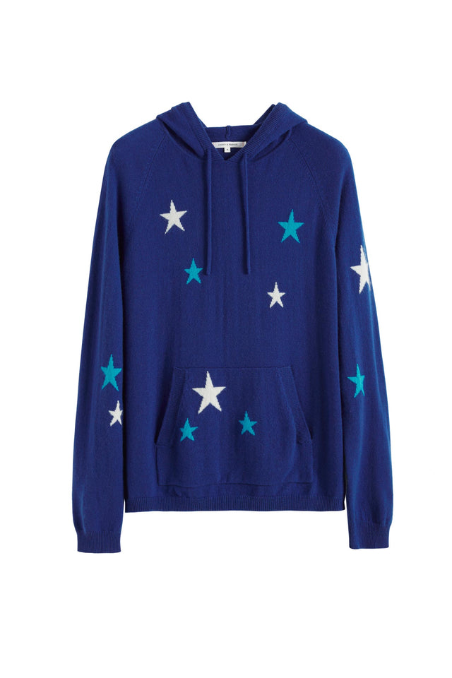 Blue Tonal Star Cashmere Hoodie image 2