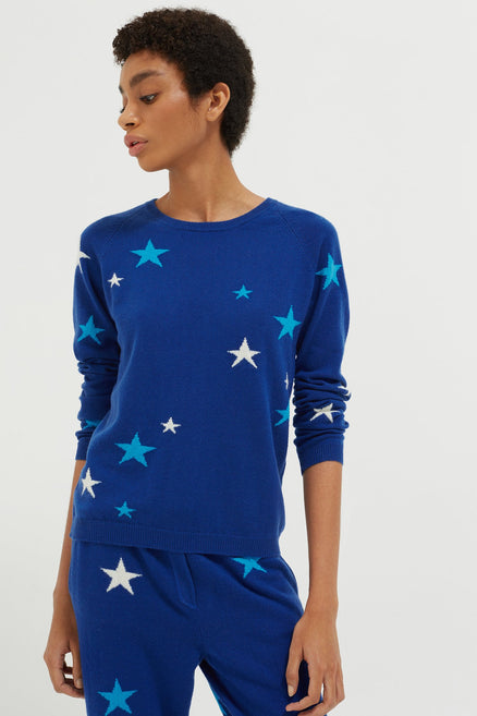 Blue Tonal Star Cashmere Sweater