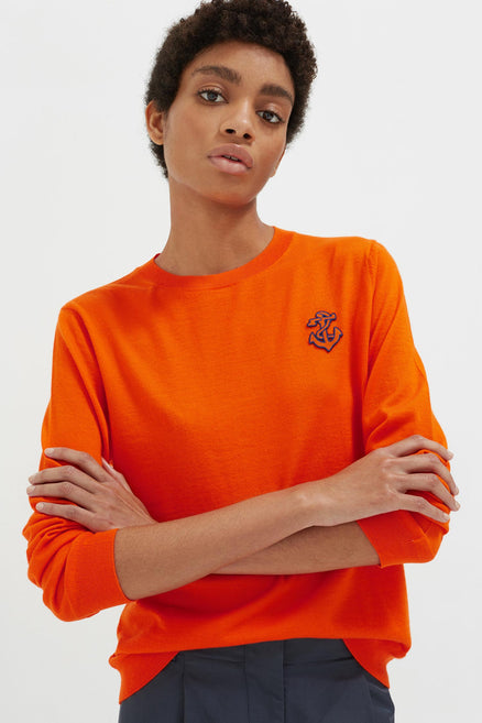 Orange Anchor Badge Cashmere Sweater