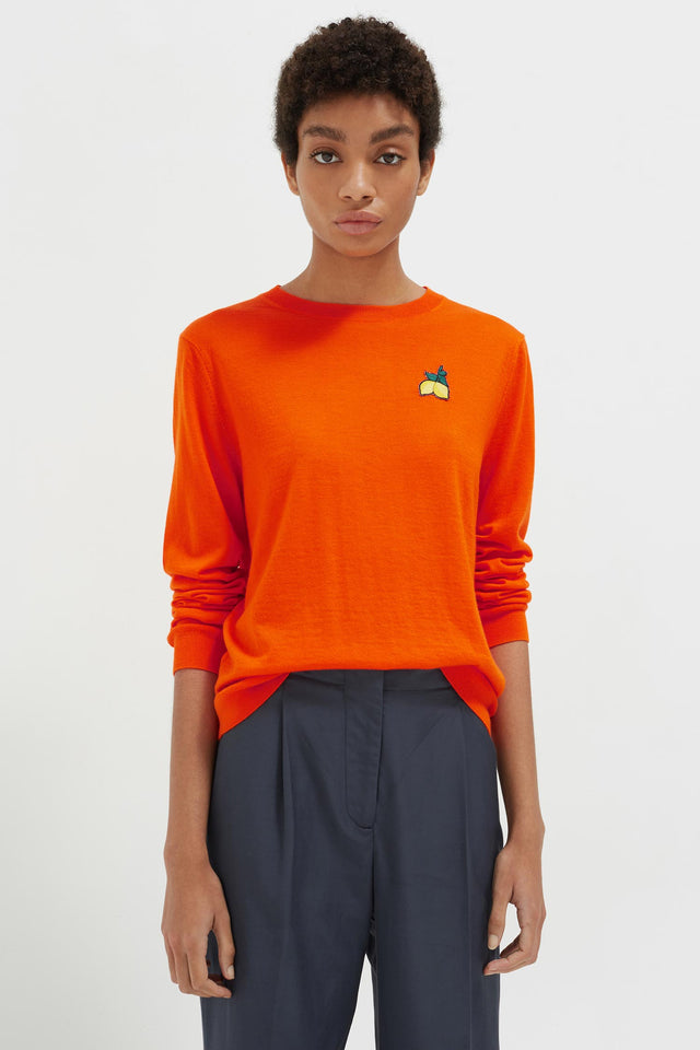 Orange Lemon Badge Cashmere Sweater image 1