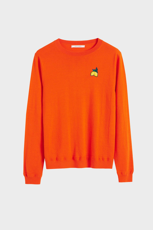 Orange Lemon Badge Cashmere Sweater image 2