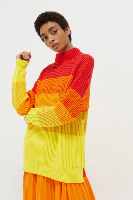 Orange Ombré Riviera Stripe Chunky Knit Sweater