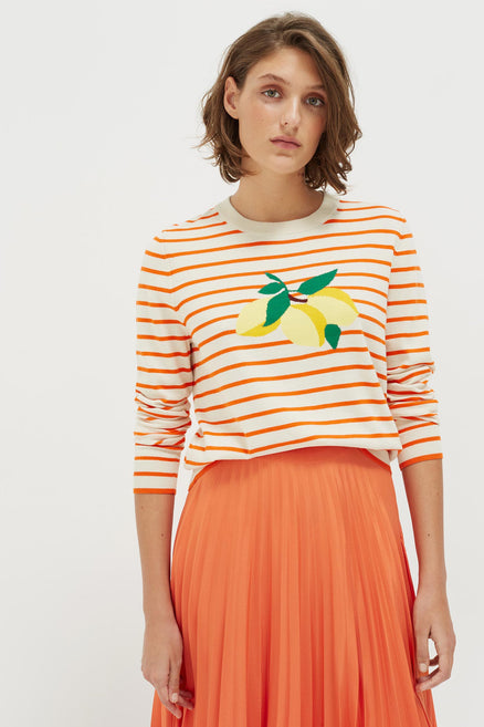 Orange Stripe Lemon Sweater