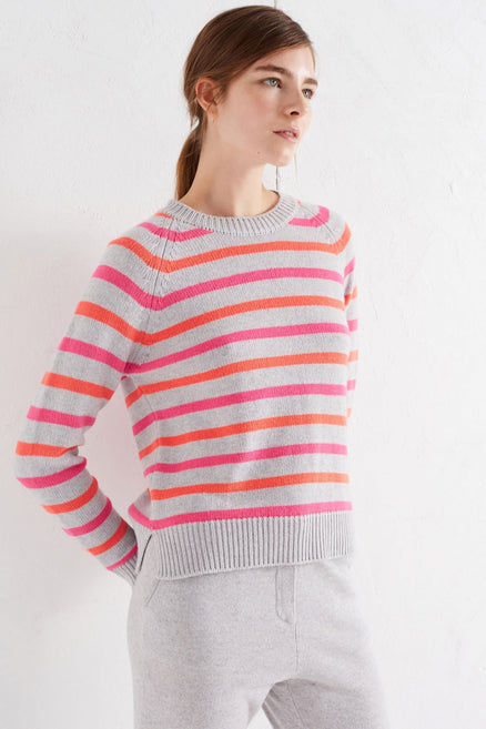 Grey Multi Breton Cashmere Sweater