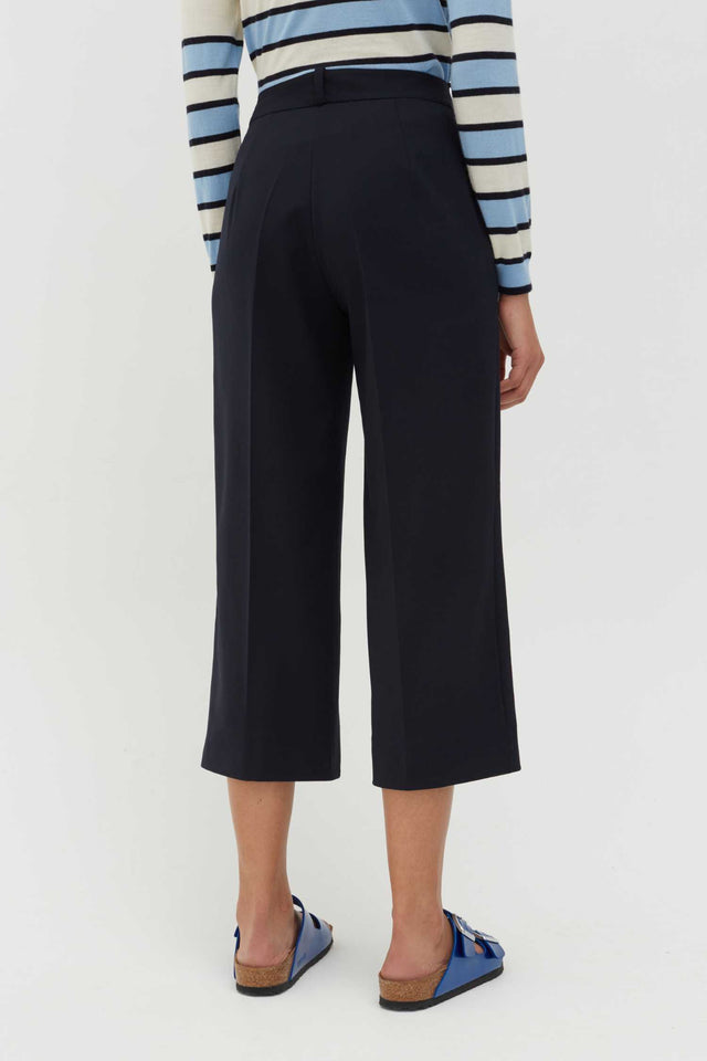 Navy Wool-Twill Cropped Trousers image 3