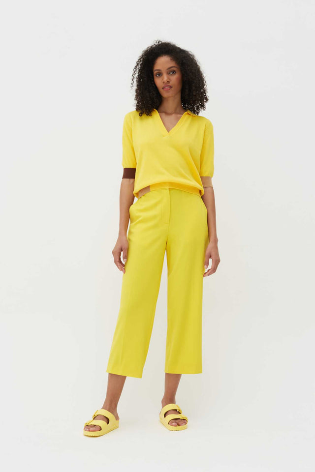 Yellow Wool-Twill Cropped Trousers image 2