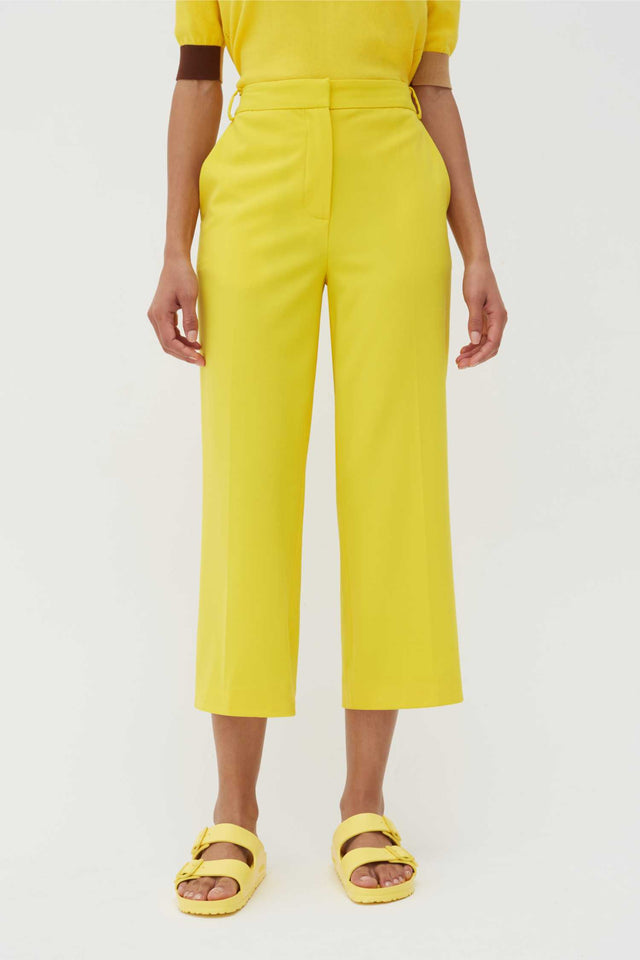 Yellow Wool-Twill Cropped Trousers image 1
