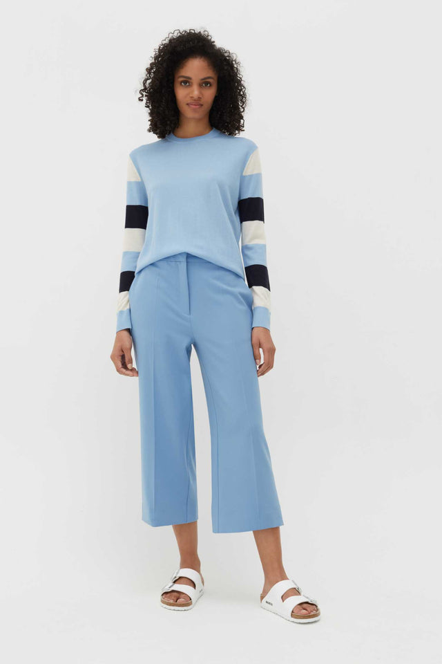 Sky-Blue Wool-Twill Cropped Trousers image 2