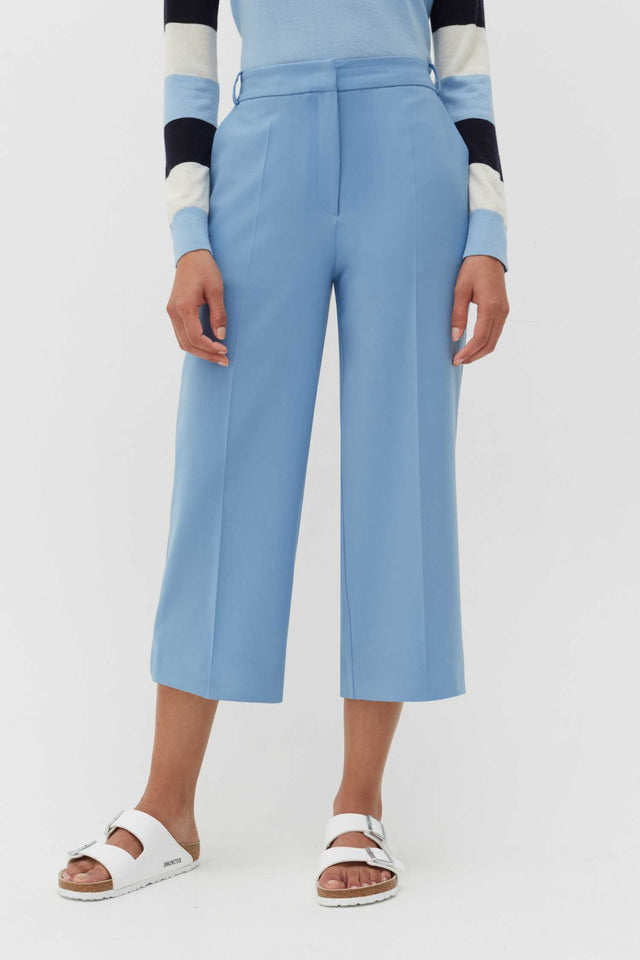 Sky-Blue Wool-Twill Cropped Trousers image 1