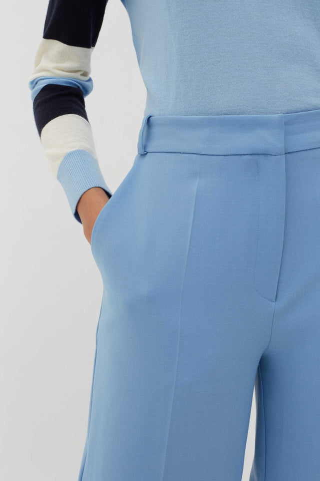 Sky-Blue Wool-Twill Cropped Trousers image 4