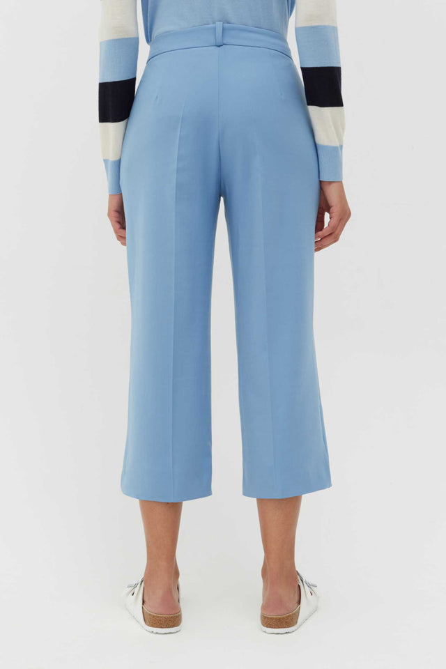 Sky-Blue Wool-Twill Cropped Trousers image 3