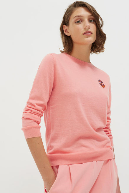 Pink Anchor Badge Cashmere Sweater
