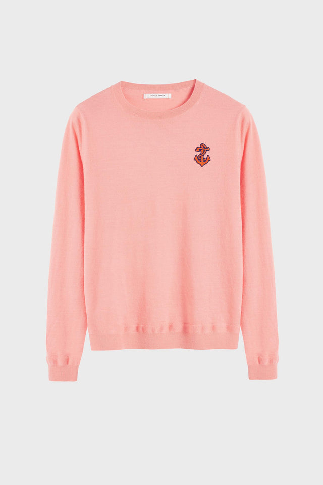 Pink Anchor Badge Cashmere Sweater image 2