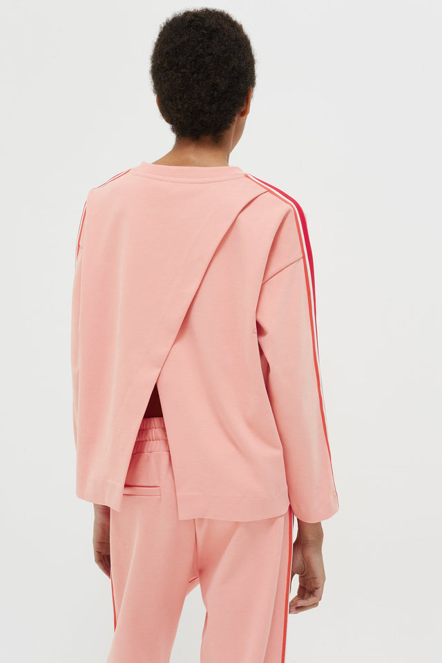 Pink Open Back Brushed Cotton Sweatshirt image 6